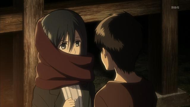 艾伦给三笠围巾